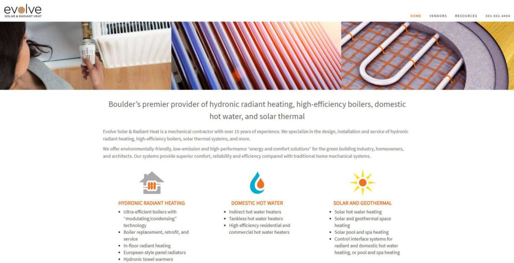 Evolve Solar, Efficient Boilers and Hydronic Heat